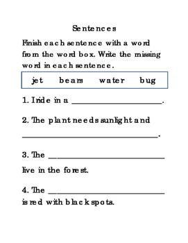 16 Sentences Set 4 Writing Journal Reading Journal Supplement ELA 4pages