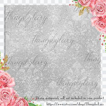 16 Silver Wedding Shimmer Distressed Foil Damask Papers