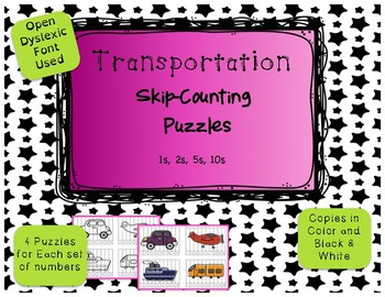 16 Skip Counting Puzzles (1, 2, 5, 10) Transportation Themed {Differentiated}