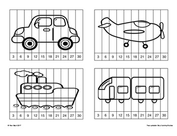 16 Skip Counting Puzzles (3, 6, 9, 12) Transportation Themed {Differentiated}