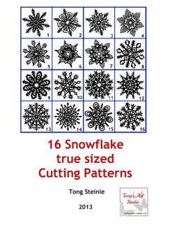 16 Snowflake true sized Cutting Patterns - PDF