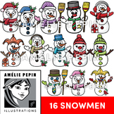 16 Snowmen Clip Art