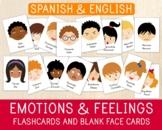 16 Spanish-English Emotions Flashcards & 16 Blank Face Car