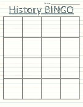 16 Square BINGO Board