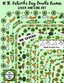 16 St. Patrick's Day Doodle Frames - Color & Line Art - In