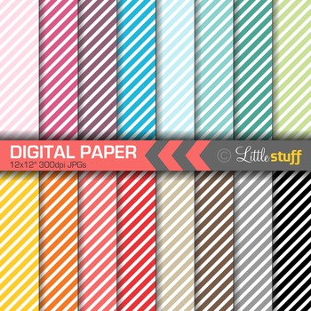 16 Striped Digital Papers, Value Priced Diagonal Stripes Digital Backgrounds