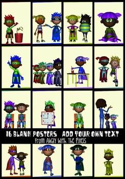 16 Superhero Class JPG Posters No Text- Make Class Rules o