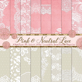 16 Sweet Blush Pink Beige Neutral White Lace Digital Papers