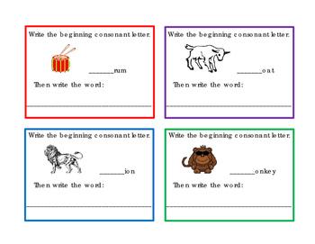 16 Task Cards Write Beginning Consonants Letters B C D F G