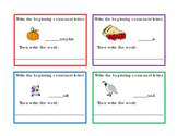 16 Task Cards Write Beginning Consonants Letters P Q R S T V W X Y Z 4pages
