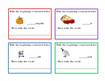16 Task Cards Write Beginning Consonants Letters P Q R S T