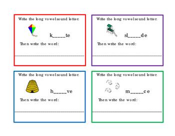 16 Task Cards Write Long I Long O Long U Vowel Sound Lette