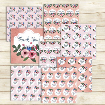 16 Thank You Pattern In Pink and Rosegold Digital Papers