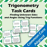 16 Trigonometry Task Cards - Word Problems Finding Unknown
