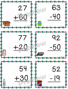 16 Two-Digit Addition and Subtraction Problems Within 100 ~ Earth Day