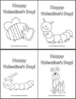 16 Valentine's Day Coloring Pages - Monsters/Robots/Dinosaurs/Insects