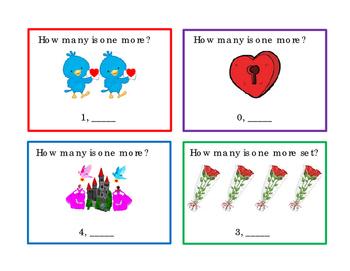 16 Valentines Day Kindergarten Math One More Task Cards Numbers Emergent Reader