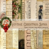 """16 Vintage Christmas Old Music Sheet Digital Papers 12x12"""""""