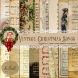 """16 Vintage Christmas Old Music Sheet Digital Papers 8.5x11"""""""