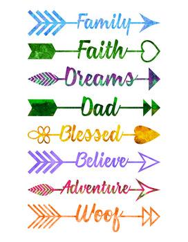 16 watercolor arrow words clipart arrow clipart watercolor clip
