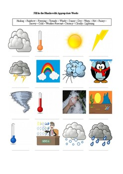 16  Weather Related Words - A Worksheet