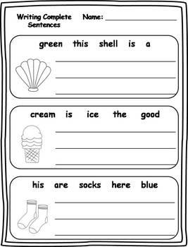 16 Writing Complete Sentences Printables