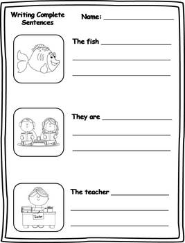 16 Writing Complete Sentences Printables