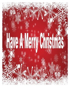 16 X 20 Poster Have a Merry Christmas Poster (Red and White)
