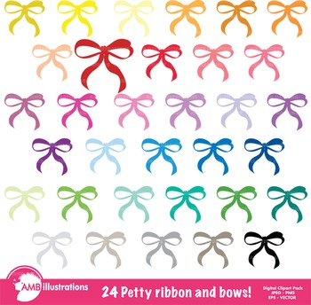 Ribbon Clipart, and Bows Clipart, Pretty Ribbons and Bows Clipart, AMB-557