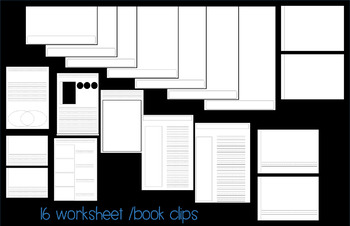16 clips/16pdfs for book,worksheet,dictionary pages -commercial/classroom use