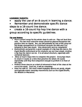 16-count Hip-hop Line Dance Creation Rubric