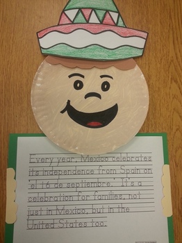Celebrate 16 de Septiembre Hat, paper plate pattern and writing activity