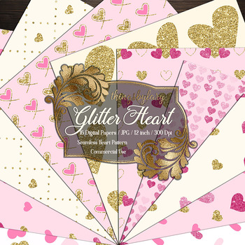 16 gold glitter and pink heart seamless pattern digital papers