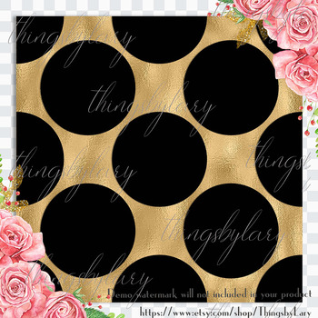 16 luxury black and gold polka dot digital papers