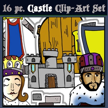 16 pc. Castle Clip-Art- BW & Color!