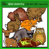 16 pc. Wild America Clip-Art Set:8 B&W, 8 Color