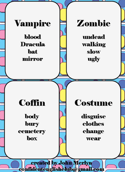 16 taboo cards for Halloween