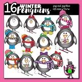 16 winter penguins - clip art for teachers