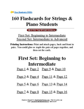 160 Flashcards for Strings & Piano Students