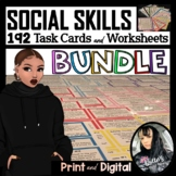 160 Social Skills Scenario Task Cards and 160 Worksheets (200 pages) BUNDLE