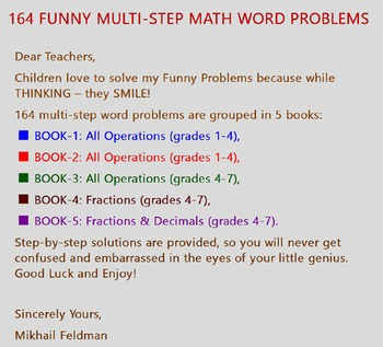 MULTI-STEP MATH WORD 164 FUNNY PROBLEMS: All Operations, Fractions, Decimals