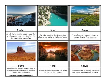 168 Geography and Landform Terms Flash Cards / 3 Part Montessori Cards