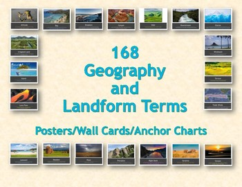 168 Geography and Landform Terms Posters / Wall Cards / Anchor Charts