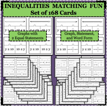 168 INEQUALITIES Puzzle Task Cards Integers -10 through 10