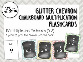 169 Glitter Chevron Chalkboard Multiplication Flashcards (0-12)