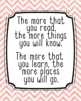 16x20 Dr. Seuss Quote Poster, Classroom Decor, JPG, The More that you Read