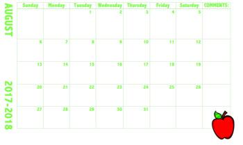 17-18 Editable Calendar