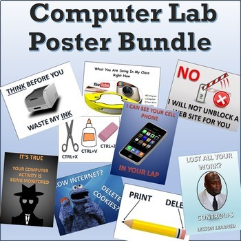 24 Awesome Funny Computer Lab Classroom Posters Signs Bundle