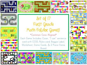 17 First Grade Math Folder Games - Fun Centers - Common Core Aligned!