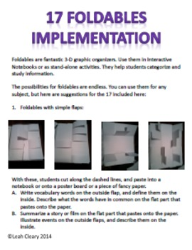 Foldable Graphic Organizers for Interactive Notebooks